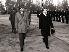 Gaddafi with Romanian communist leader Nicolae Ceausescu in Bucharest, Romania 1974