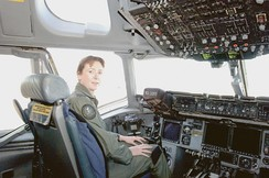 Wing Commander Linda Corbould, commander of No. 36 Squadron RAAF, training in a USAF C-17 in 2006