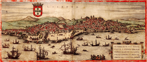 Lisbon and the Tagus (1572). Galleon in the center (one type of Portuguese galleon), carracks, galley, round caravels, and caravels (lateen), among other vessels