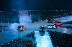Cabs carrying the Spice Girls at the 2012 Summer Olympics closing ceremony.
