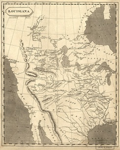 "1804 map of ""Louisiana"", edged on the west by the Rocky Mountains"