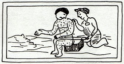 16th-century Aztec drawing of someone with measles