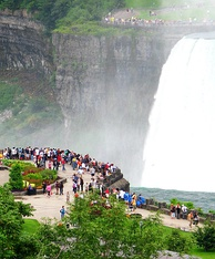 The movement of the water near Niagara Falls on the border, is used to generate substantial hydroelectricity