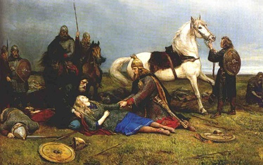 Hervor dying after the Battle of the Goths and Huns, by Peter Nicolai Arbo