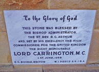 Stone set by Lord Carrington, while High Commissioner to Australia, at All Saints Church, Canberra