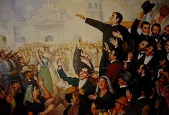 A painting of the First Independence Movement celebration in San Salvador. At the center, José Matías Delgado.
