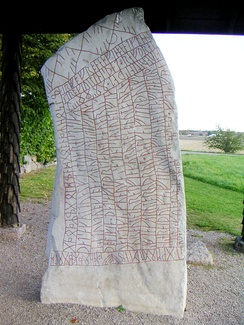 An inscription using cipher runes, the Elder Futhark, and the Younger Futhark, on the 9th-century Rök runestone in Sweden