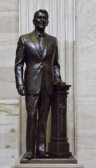 A bronze statue of Reagan standing in the Capitol rotunda (a part of the National Statuary Hall Collection)