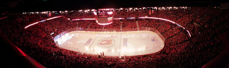 "Panoramic view of the interior of the Saddledome, and the ""C of Red"", prior to a Calgary Flames playoff game"