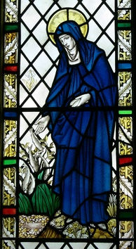 Saint Brigid of Kildare as depicted in Saint Non's chapel, St Davids, Wales.