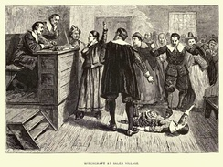 A depiction of a 17th-century criminal trial, for witchcraft in Salem