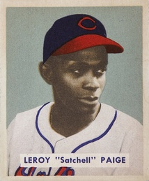 Paige's 1949 Bowman Gum baseball card, during his tenure with the Indians