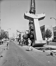 Building the Seattle Center Monorail, 1961. Looking north up Fifth Avenue from Virginia Street.