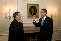 Obama retaking the oath of office on January 21, 2009