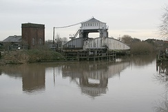 Selby swing bridge in open position, and hydraulic accumulator tower, left (2007)
