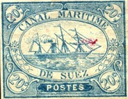 An 1868 stamp used by Suez Canal Company.