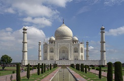 The Taj Mahal near Agra in India was commissioned by the Moghul Emperor Shah Jahan (1628-1658) in memory of his wife Mumtaz Mahal, and completed in 1648.[195] It is studded with numerous inscriptions, almost all of which are from the Qur'an.[196] Scholars have suggested that the Taj Mahal complex is a representation of paradise.[196]