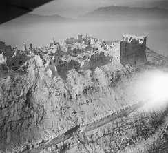 Ruins of the Benedictine monastery, during the Battle of Monte Cassino, Italian Campaign, May 1944