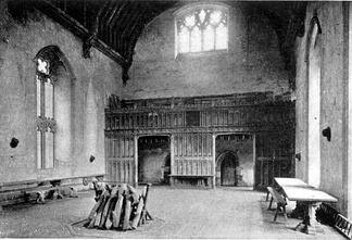 The great hall at Penshurst Place, Kent, built in the mid 14th century. The hall was of central importance to every manor, being the place where the lord and his family ate, received guests, and conferred with dependents.