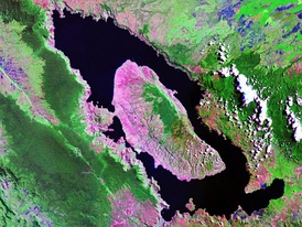 Landsat image of Lake Toba, Indonesia, the largest volcanic crater lake in the world