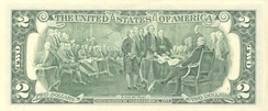 Reverse of U.S. two-dollar bill, featuring Trumbull's Declaration of Independence