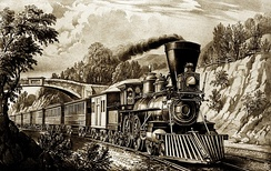 Vintage image of steam train