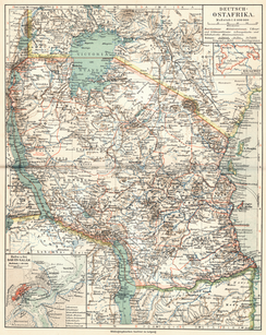Map of German East Africa (bordered in red), 1905.