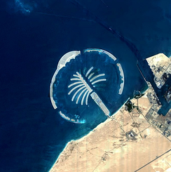 Satellite imagery of Palm Jebel Ali under construction in mid-2005