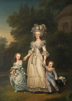 Marie Antoinette with her two eldest children, Marie-Thérèse Charlotte and the Dauphin Louis Joseph, in the gardens of the Petit Trianon (by Adolf Ulrik Wertmüller, 1785)
