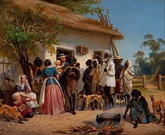 European settlers with Aborigines, 1850