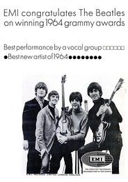 Trade ad of congratulations to the Beatles for their 1964 Grammys.