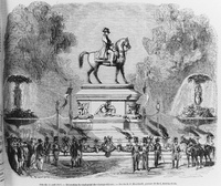 Statue of Napoleon Bonaparte erected at Champs-Élysées in 1852, soon after the coronation of Napoleon III.