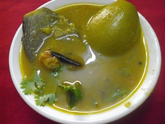 Brinjal and mango sambar