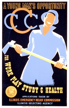 Poster by Albert M. Bender, Illinois WPA Art Project Chicago (1935)