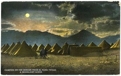 General Pershing's punitive expedition camp near the border, El Paso, Texas (postcard, circa 1916): Franklin Mountains, left-to-right (i.e., south-to-north) are: Ranger Peak, Sugarloaf Mountain, and part of South Franklin Mountain