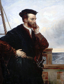 A depiction of Jacques Cartier by Théophile Hamel, 1844. No contemporary likeness of Cartier has been found to exist.[70]