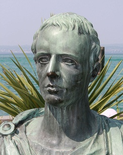 Modern bust of Catullus on the Piazza Carducci in Sirmione.[1]