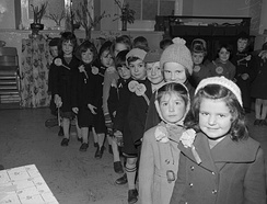 Primary school pupils in 1960, in Barmouth, celebrating St David's Day
