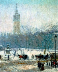 Snowstorm, Madison Squareby Childe Hassam (c.1890).Stanford White's Madison Square Gardenis in the background.