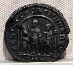 Constantine I with his two eldest sons by Fausta, Constantine II and Constantius II