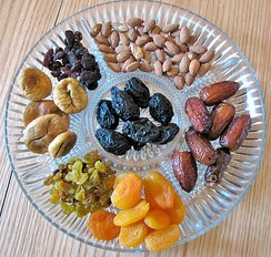 Nuts and dried fruits, traditionally eaten on Tu Bishvat