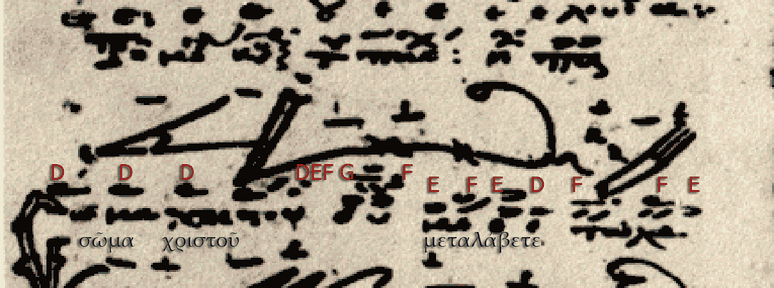 Easter koinonikon σῶμα χριστοῦ μεταλάβετε in echos plagios protos with the old cheironomiai (hand signs) or Asmatikon notation and their transcription into Byzantine round notation in a manuscript of the 14th century (GR-KA Ms. 8, fol. 36v)