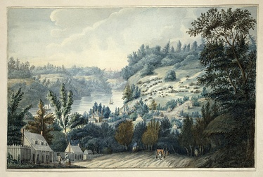 Queenston, Ontario, then known as Queenstown, Upper Canada, in a c. 1805 watercolour by army surgeon Edward Walsh. The Niagara River is clearly visible.