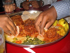 Ethiopians eating with hands