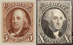 ~ Benjamin Franklin ~ George Washington ~The First U.S. Postage StampsIssued 1847The first stamp issues were authorized by an act of Congress and approved on March 3, 1847.[24] The earliest known use of the Franklin 5¢ is July 7, 1847, while the earliest known use of the Washington 10¢ is July 2, 1847. These issues were declared invalid for postage on July 1, 1851.[25]