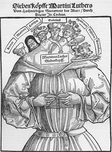 Woodcut showing Luther and the reformers as the Antichrist