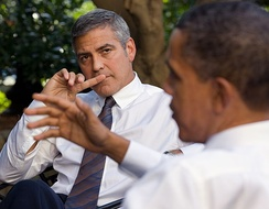 Clooney discusses Sudan with President Barack Obama at the White House in October 2010.