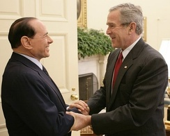 Berlusconi with the U.S. President George W. Bush at the White House