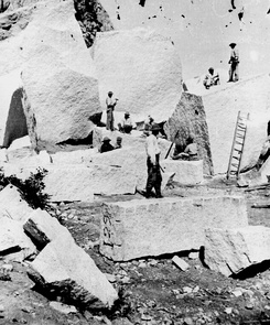 Quarry for the Salt Lake Temple. The ground is strewn with boulders and detached masses, which have fallen from the walls of Little Cottonwood Canyon. The quarrying consists of splitting up the blocks