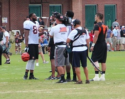 Hard Knocks filming crew with Jermaine Gresham, 2013